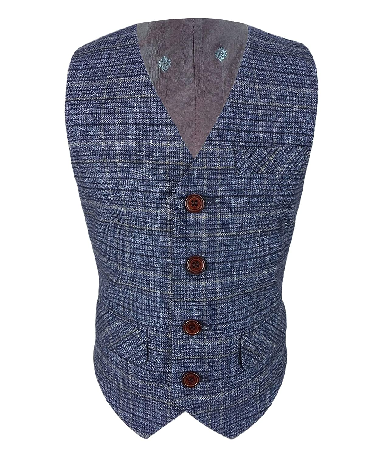 dd5877d20ac6 Romano Boys Slim Fit Check Tweed Wedding Waistcoats  Amazon.co.uk  Clothing
