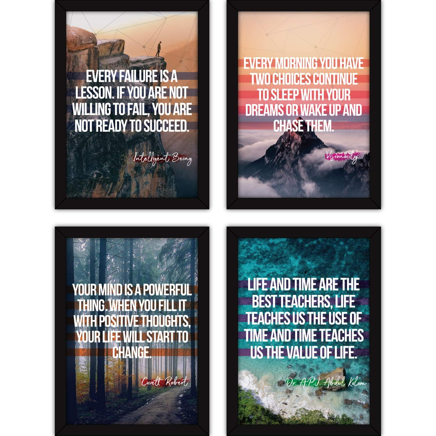 FATMUG Framed Dreams Wall Paintings Life Quotes for Office Decor and Home with Glass (Synthetic, Multicolour) - Set of 4 (B07MHSVXX7) Amazon Price History, Amazon Price Tracker
