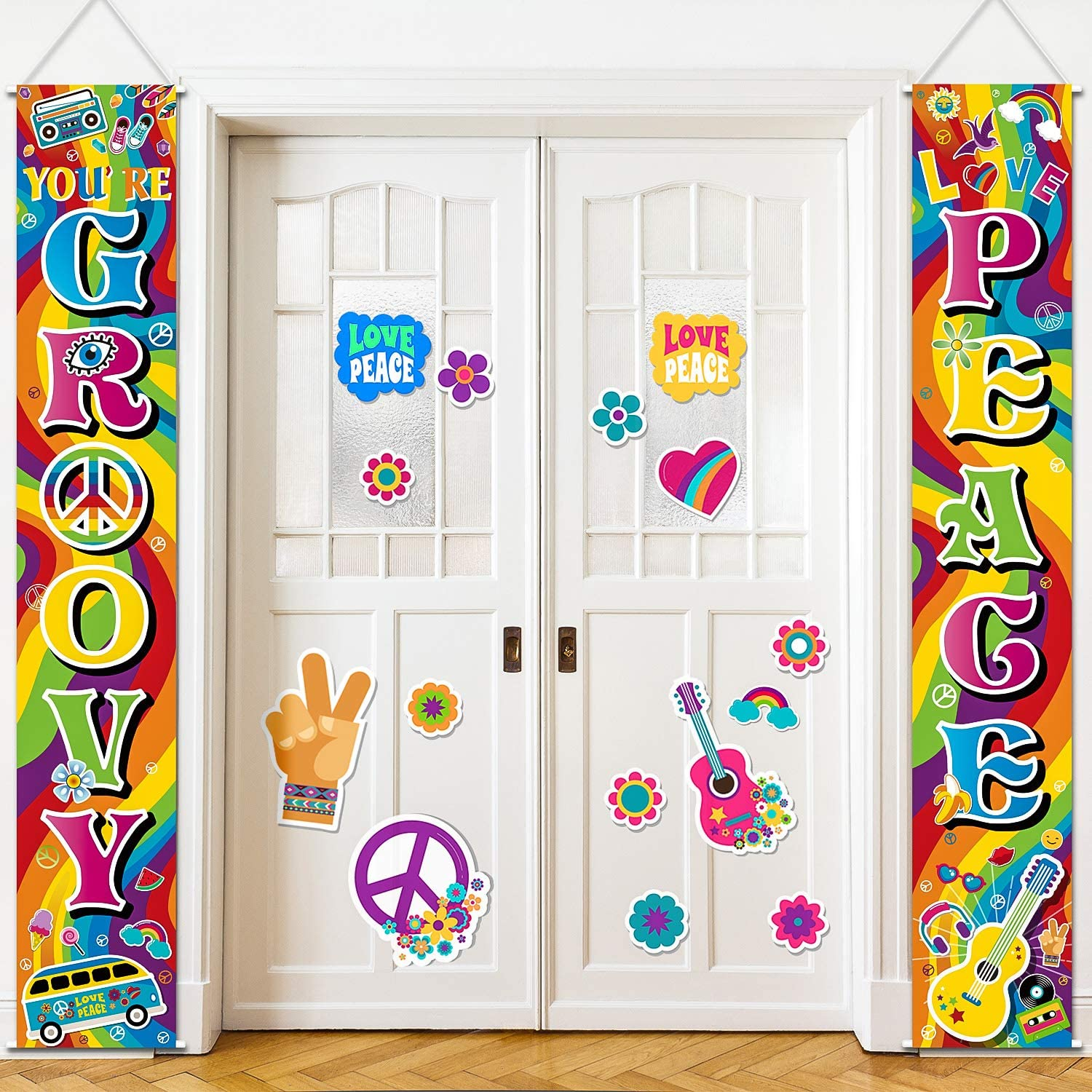 60's Party Scene Setters Hippie Wall Decoration, 60s Porch Sign Groovy Party Door Sign for 1980s Theme Party Rock Star Birthday Decoration Rainbow Backdrop Photo Props