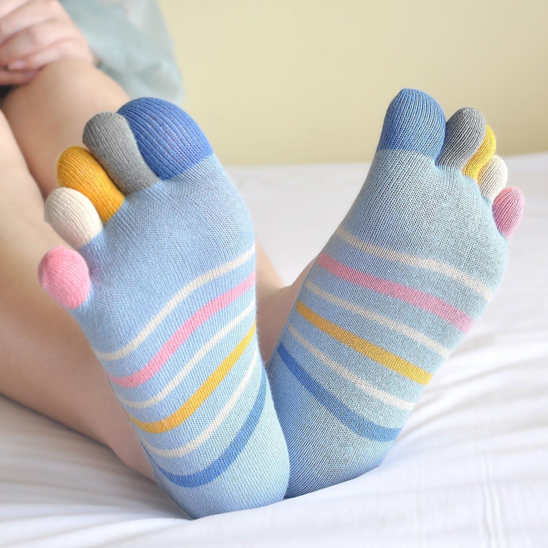 Cortes Bajos Tobilleros Calcetines de Cinco 5 Dedos de Deporte para Mujer 5//6 pares LOFIR Calcetines Cortos de Algod/ón para Mujer Calcetines Invisibles con Dedos Separados talla 36-41