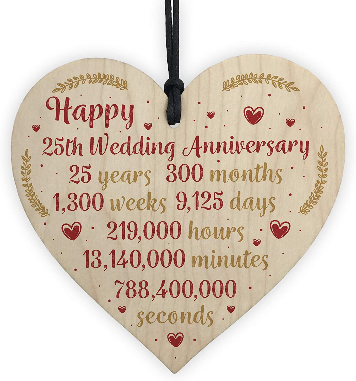 RED OCEAN Happy 10th Wedding Anniversary Card Gift Wooden Heart Silver  Twenty Five Years Husband Wife Keepsake Gift