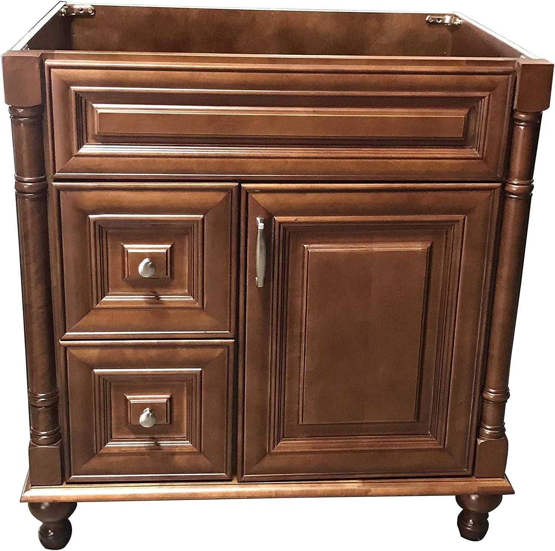 "Maple Walnut Solid Wood Single Bathroom Vanity Base Cabinet 30"" W x 21"" D x 32"" H (Left Drawers)"