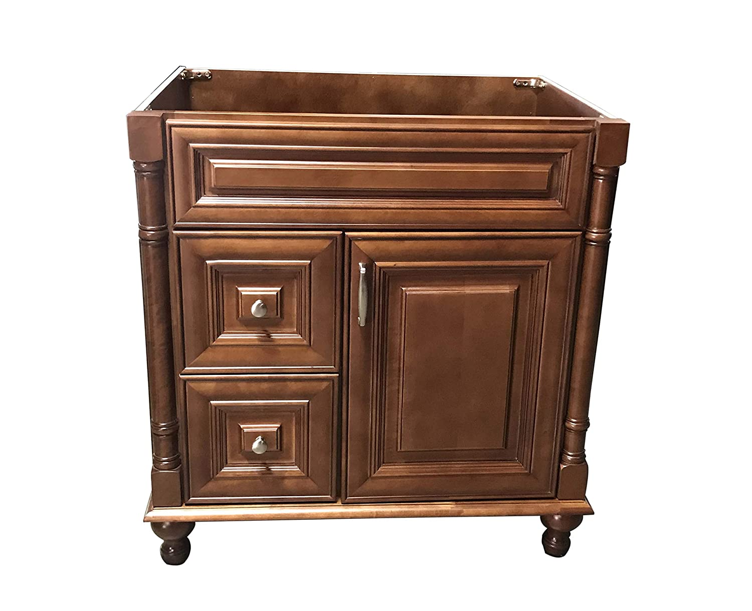 Maple Walnut solid wood Single Bathroom Vanity Base Cabinet 30 W x 21 D x 32 H Left Drawers