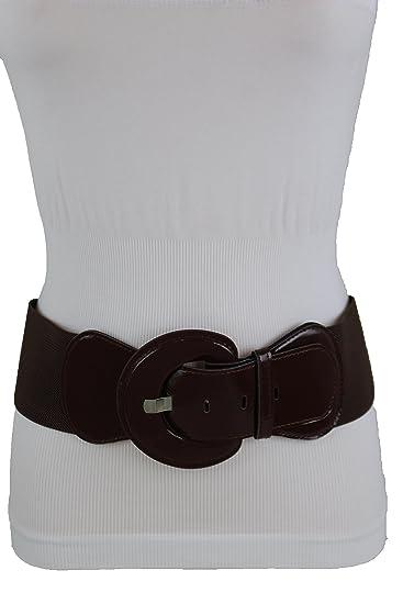 c13376e0d2639 TFJ Women Fashion Wide Stretch Belt Faux Leather Hip High Waist Plus Size  ML XL Brown