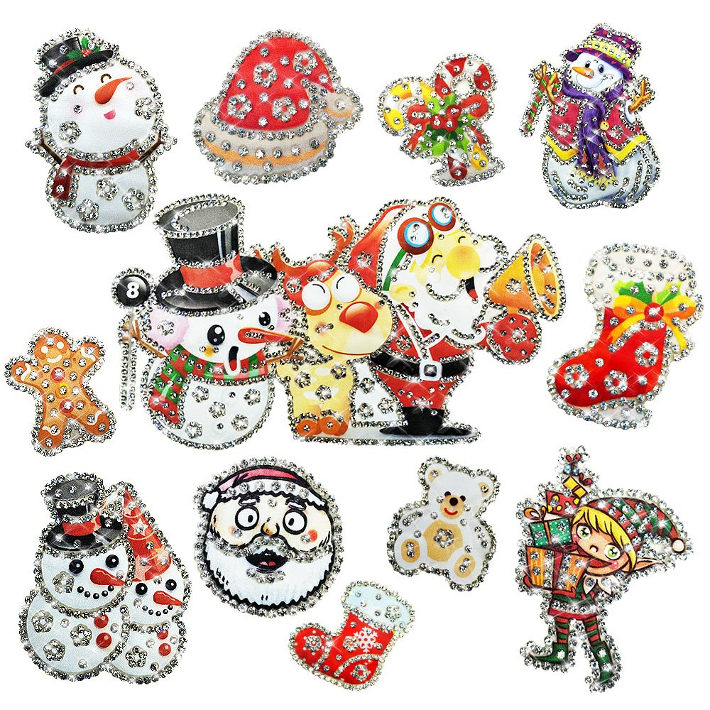 Leeau Christmas Window Stickers,Christmas Stickers for Kids,Window Clings,Gel Clings for Holiday Leeau Garment Accessories