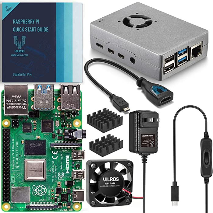 Vilros Raspberry Pi 4 Basic Starter Kit with Fan Cooled Heavy Duty Aluminum Alloy Case (4GB Ram, Silver)