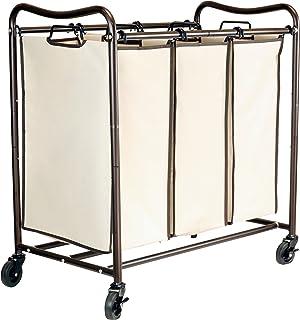 DecoBros Heavy-Duty 3-Bag Laundry Sorter Cart, Bronze