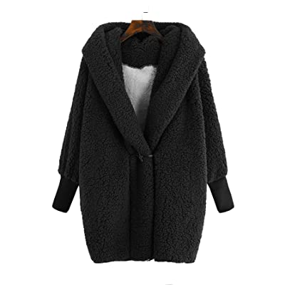 SweatyRocks Women Khaki Hooded Dolman Sleeve Faux Fur Cardigan Coat for Winter at Women's Coats Shop