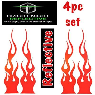 """Flame Decals Reflective (2) 1.25""""x5.25"""" Great for Helmets, Motorcycles, Computer Stickers, Phone, Tablet, Hard hat (Red): Automotive"""
