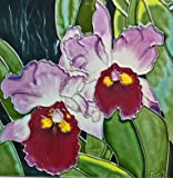 Continental Art Center BD-2081 8 by 8-Inch Two Lavender Orchids with Burgandy Center Ceramic Art Tile