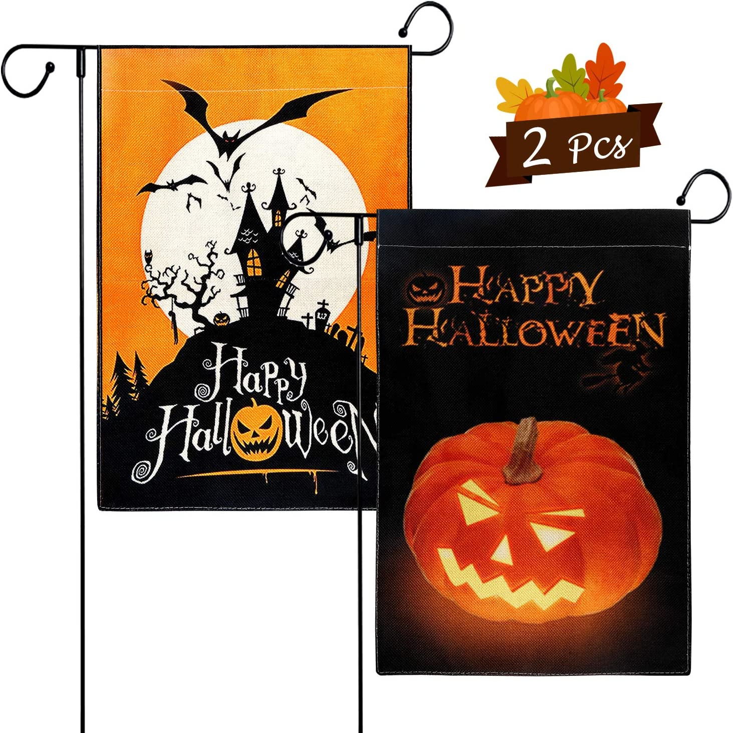 Amazon Com Okrostoy 2 Pcs Happy Halloween Garden Flag Burlap Scary Pumpkin Castle Spooky Bats Double Sided Print Garden Yard Flag For Home Decor 12 X 18 Inch 2 Pcs Happy Halloween Flags
