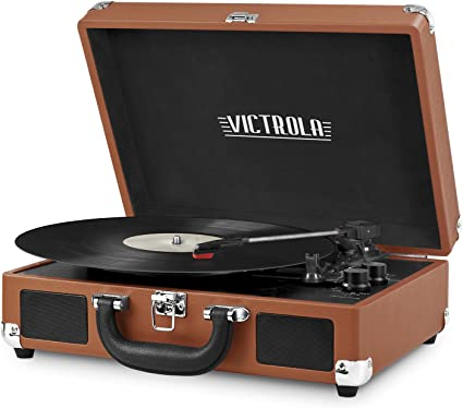 Victrola Vintage 3-Speed Bluetooth Suitcase Turntable with Speakers, Cognac