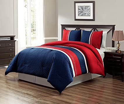 GrandLinen 3 Piece Navy Blue/Red/White Texas Lone Star Embroidery Western  Bed in A Bag Down Alternative Comforter Set (Double) Full Size Bedding. ...