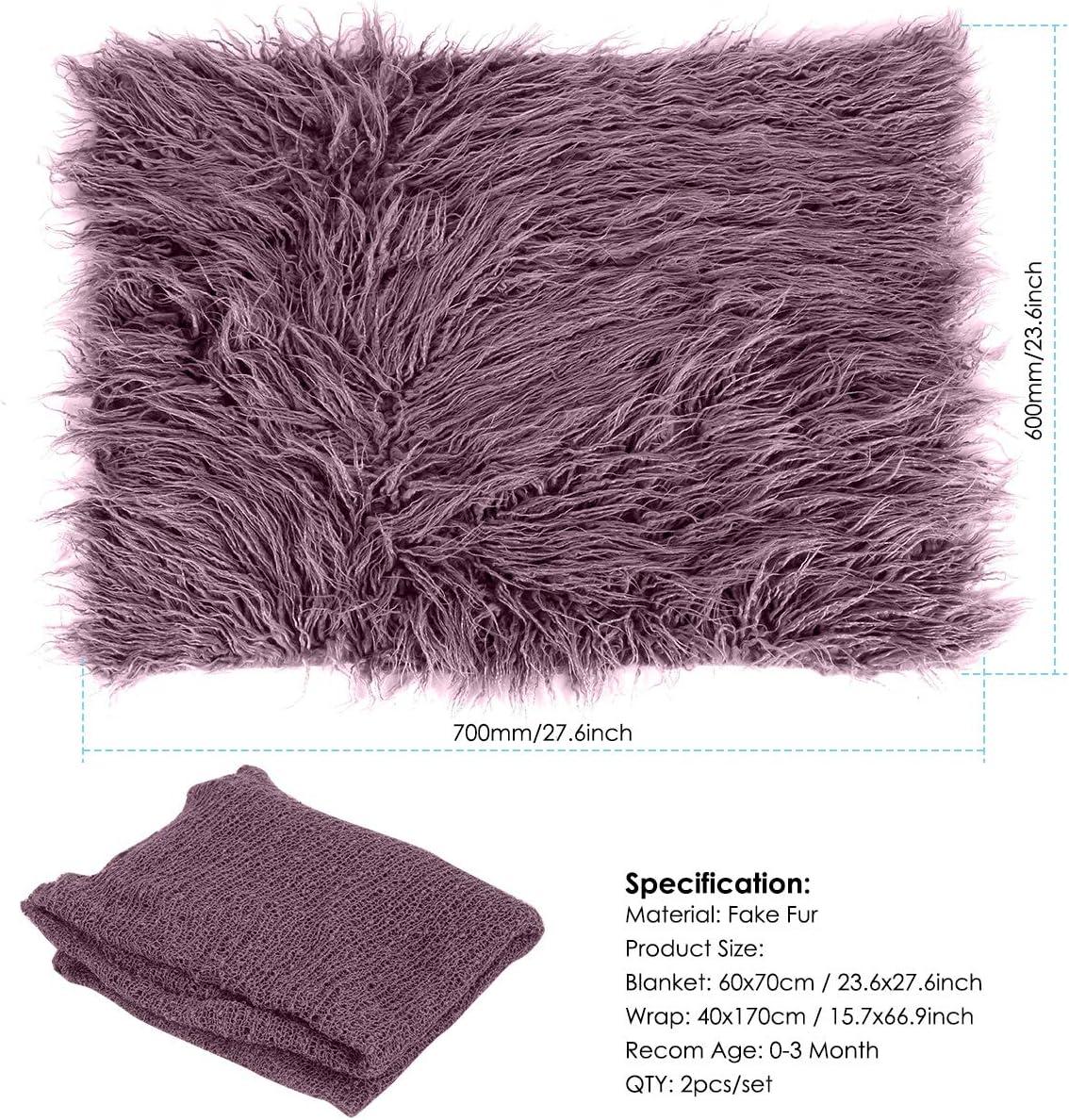 Caf/é Couverture photo moelleuse pour b/éb/é ondulation Wrap Set photographie nouveau-n/é Wrap Mat