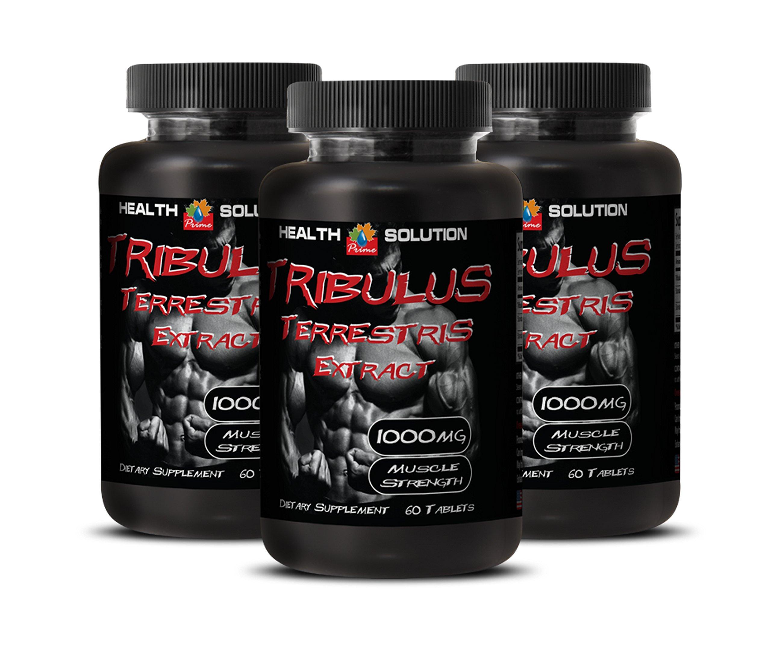 Testosterone booster vitamins - MUSCLE STRENGTH - TRIBULUS TERRESTRIS EXTRACT 1000mg - Tribulus 1000 - 3 Bottles 180 Tablets