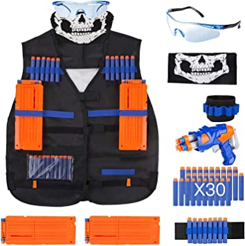 Elite Tactical Vest Kit for Nerf N-strike Elite Series,40-Dart Refill Pack,seamless skull face mask by VOROSY: Amazon.es: Juguetes y juegos