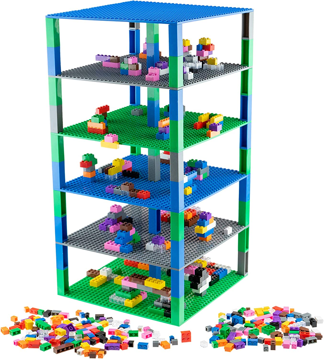 Strictly Briks - Brik Tower with 500 Classic Bricks in 12 Colors - 6 10x10 inch Baseplates in Blue, Gray, and Green - 100% Compatible with All Major Building Brick Brands