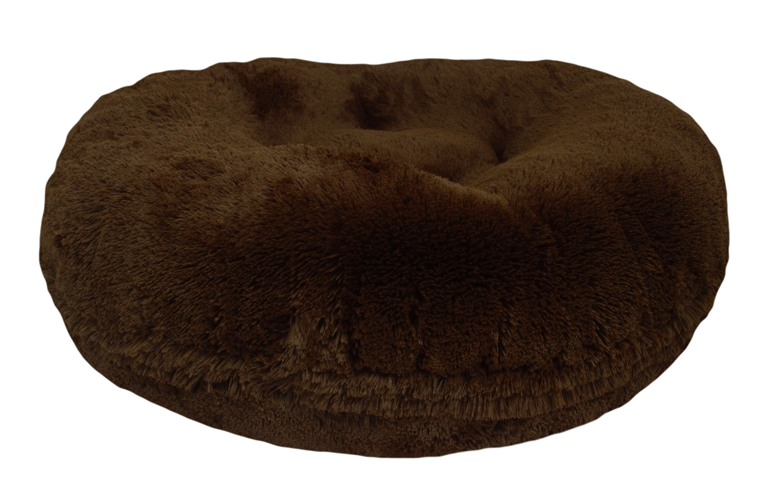 BESSIE AND BARNIE 36-Inch Bagel Bed for Pets, Medium, Grizzly Bear