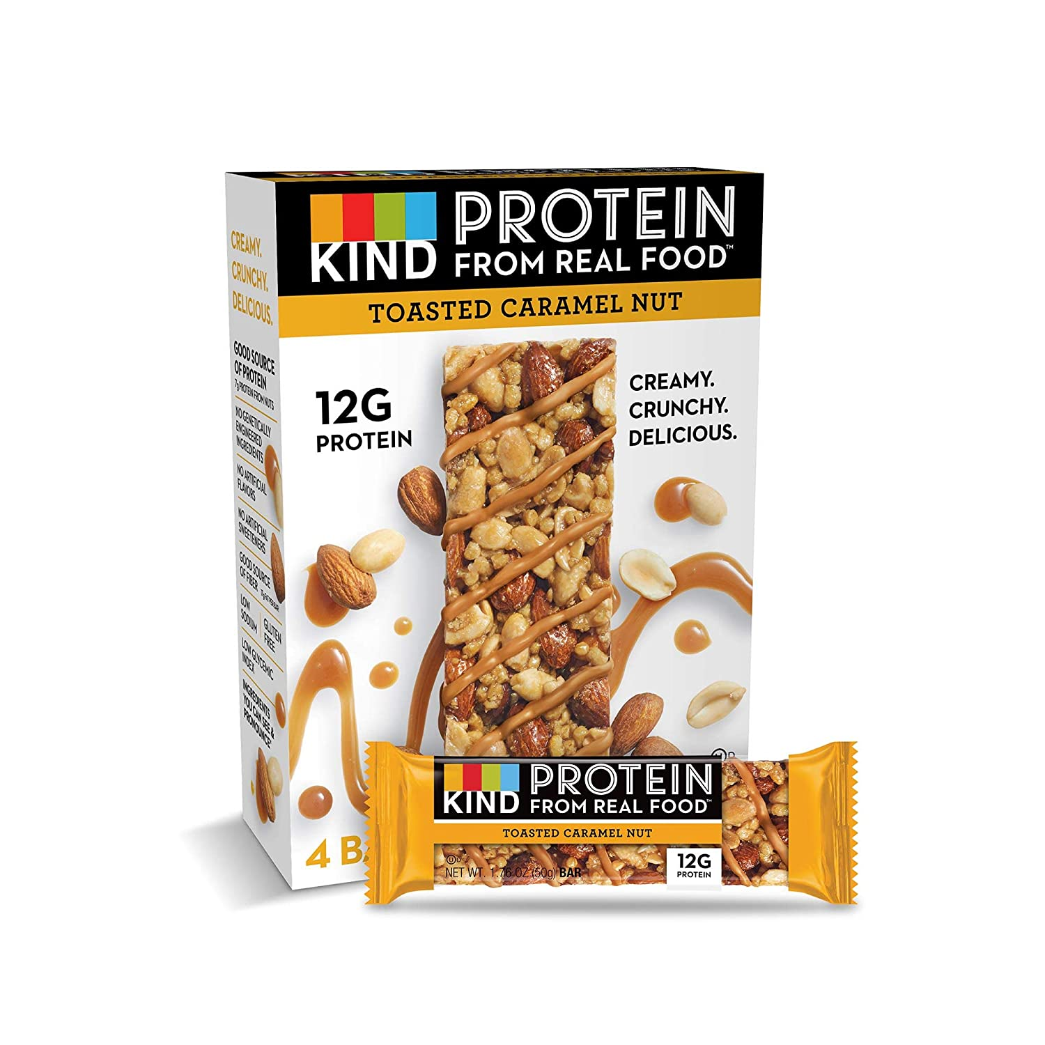 KIND Protein Bars, Toasted Caramel Nut, Gluten Free, 12g Protein,1.76oz, 24 count