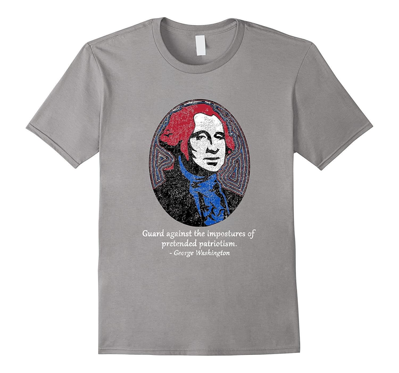 Distressed George Washington 4th of July Patriot T-shirt