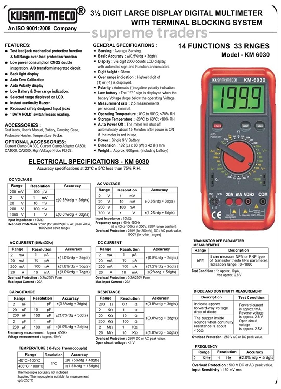 Kusam Meco Km 6030 3 Digit Digital Multimeter With Terminal Functions Of Integrated Circuit Blocking System By Supreme Traders Supertronics1989 Industrial Scientific