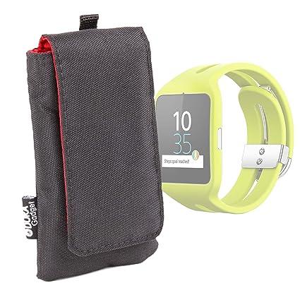DURAGADGET Funda Acolchada Negra/Roja para Reloj Sony Smartwatch 3 ...