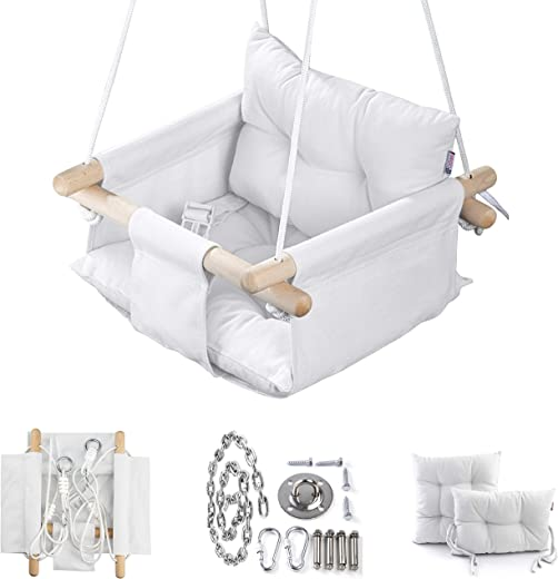 Canvas Baby Swing by Cateam - Ivory - Wooden Hanging Swing Seat Chair for Baby with Safety Belt and mounting Hardware. Baby Hammock Chair Birthday Gift.