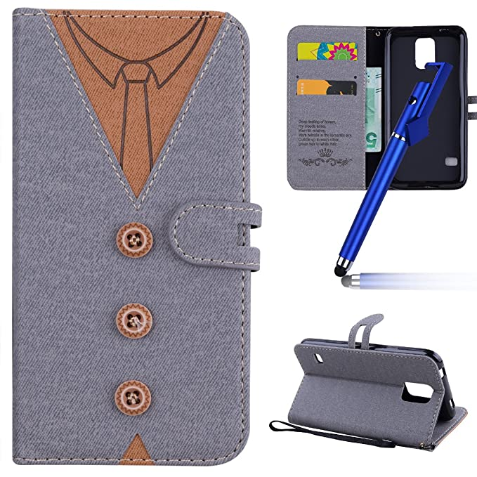 MoreChioce Galaxy S5 Hülle,Galaxy S5 Leder Flip Case, Fashion Grau ...