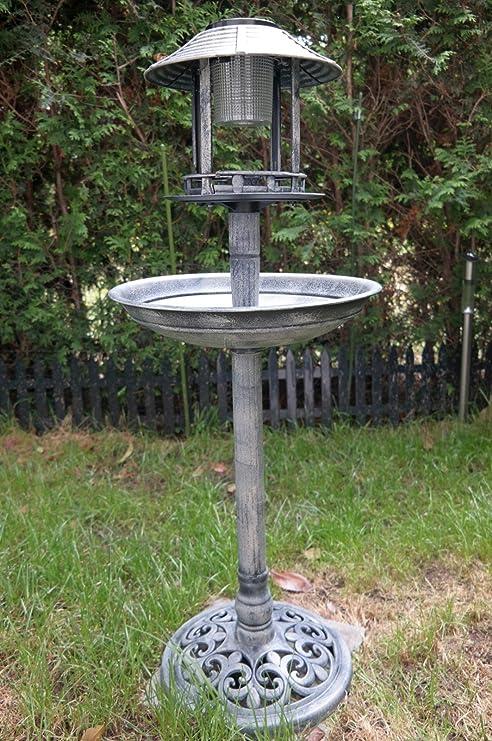 Solar pájaro Hotel piedra Comedero Bebedero para pájaros y figura lámpara solar jardín: Amazon.es: Jardín