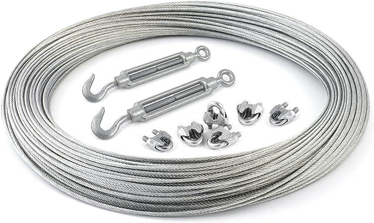 6 serre-c/âbles /étrie beaucoup de tailles disponibles 2 tendeur oeil-crochet M5 SET 30m cable 5mm acier inox cordage torons: 7x19
