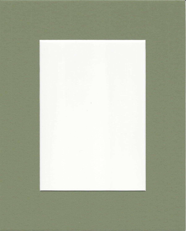 Amazon.de: 5 Stück 8 x 10 moosgrün Bild Mats mit Weiß Core für 5 x 7 ...