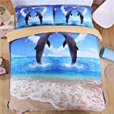 EsyDream King Size Dolphin Ocean Print Bedding Sets,4pc Sets Queen Size Ocean Beach Dolphin Duvet Cover (No Comforter),Twin Size