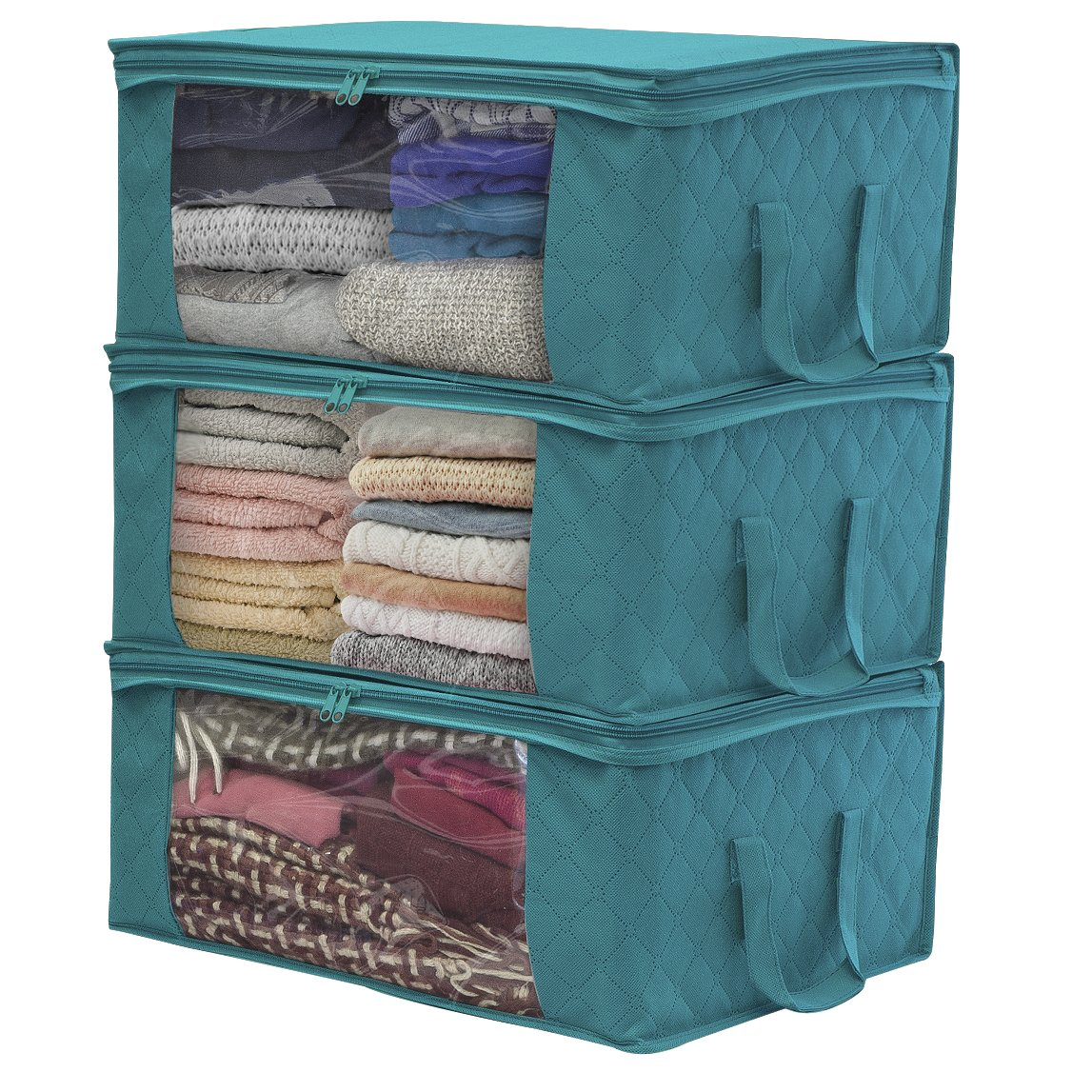 Sorbus Foldable Storage Bag Organizers, Large Clear Window & Carry Handles, Great for Clothes, Blankets, Closets, Bedrooms, and more (3 Pack, Aqua)