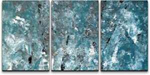 wall26 - 3 Piece Canvas Wall Art - Teal and Grey Abstract Art Painting - Modern Home Art Stretched and Framed Ready to Hang - 16