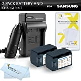 2pk Samsung HMX-F90 HMX-F90 HMX-F90BN HMX-F90WN/XAA Camcorder Battery Lithium Ion (1200 mAh 3.7v) - Replacement For Samsung IA-BP105R Battery + Ac/Dc Rapid Travel Charger + LCD Screen Protectors