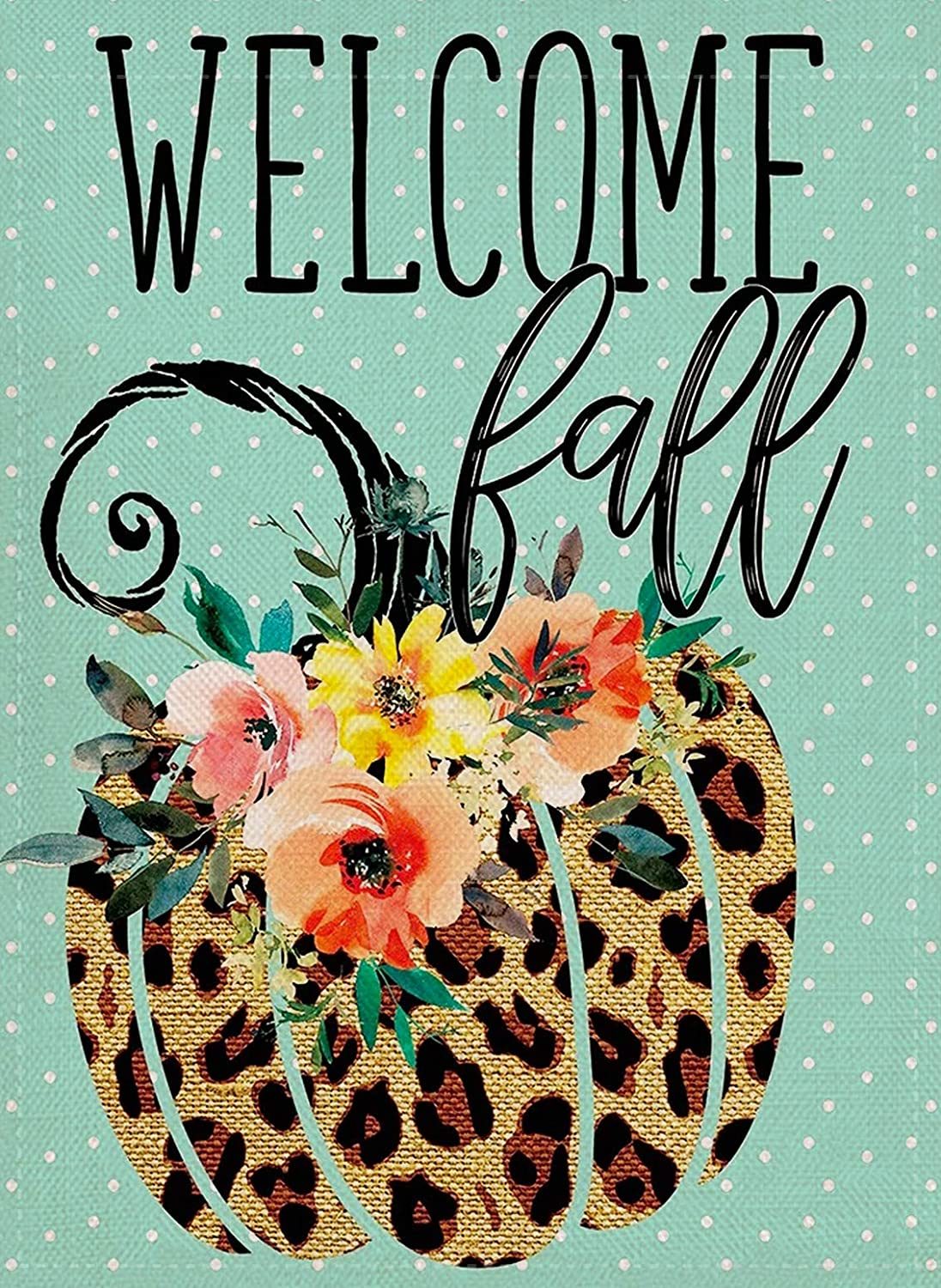 Furiaz Welcome Fall Leopard Pumpkin Garden Flag Watercolor Flowers House Yard Outdoor Decorative Small Flag, Autumn Outside Decorations Seasonal Mint Green Home Flag Decor Double Sided 12 x 18
