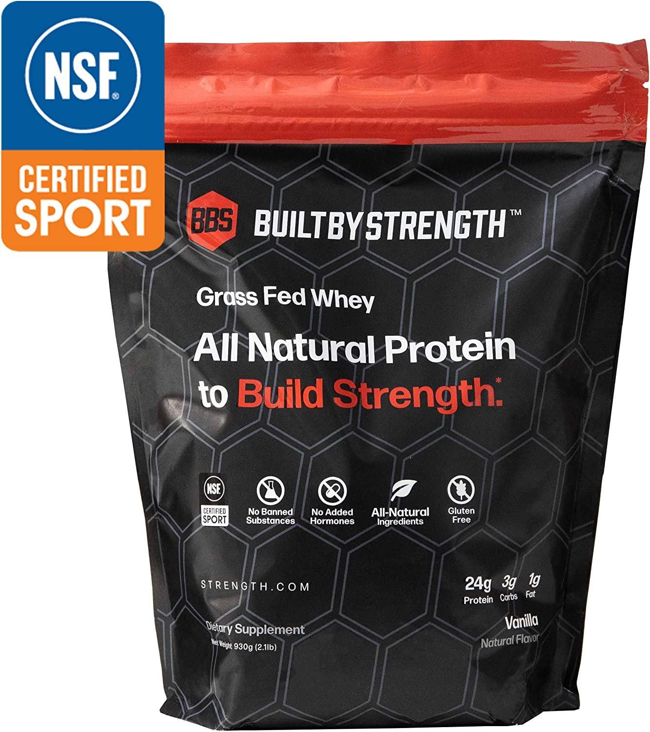BuiltByStrength Grass Fed Whey Protein – NSF Certified All Natural Vanilla Whey Isolate Protein Powder – Tastes Great and Dissolves Easily in Coffee – Non GMO and Gluten Free 30 Servings