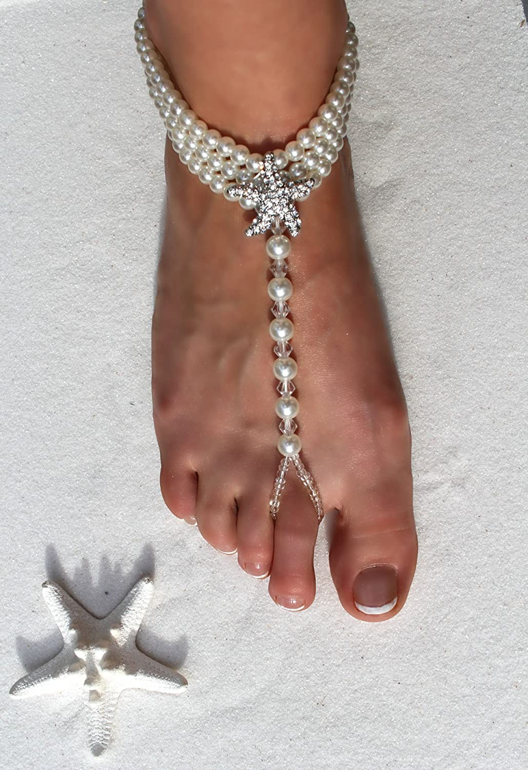cce3da8e9044cb Amazon.com  Ivory Barefoot Sandals - Beach Wedding Beaded Pearl Anklet with  Rhinestone Starfish - Set of 2  Shoes