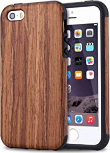 TENDLIN Compatible with iPhone SE Case (2016) / iPhone 5S Case Wood Veneer Flexible TPU Silicone Hybrid Good Protection Case Designed for iPhone 5/5S/SE (Red Sandalwood)