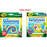 Crayola 8 Count Washable Window Markers (Washable Window Markers x Markers with Crystal Effects)