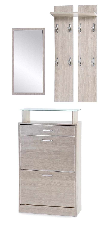 ts-ideen Set di 3 pezzi Guardaroba Scarpiera Mobile per le scarpe Specchio con effetto legno di quercia con cassetti e scaffale in vetro