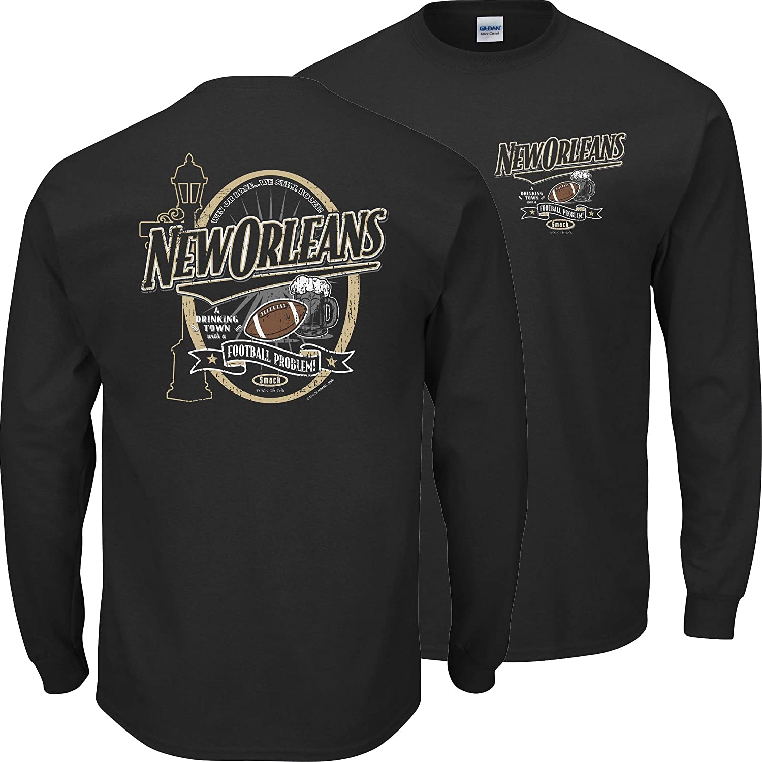 Sm-5X New Orleans Football Fans A Drinking Town with a Football Problem Black T-Shirt