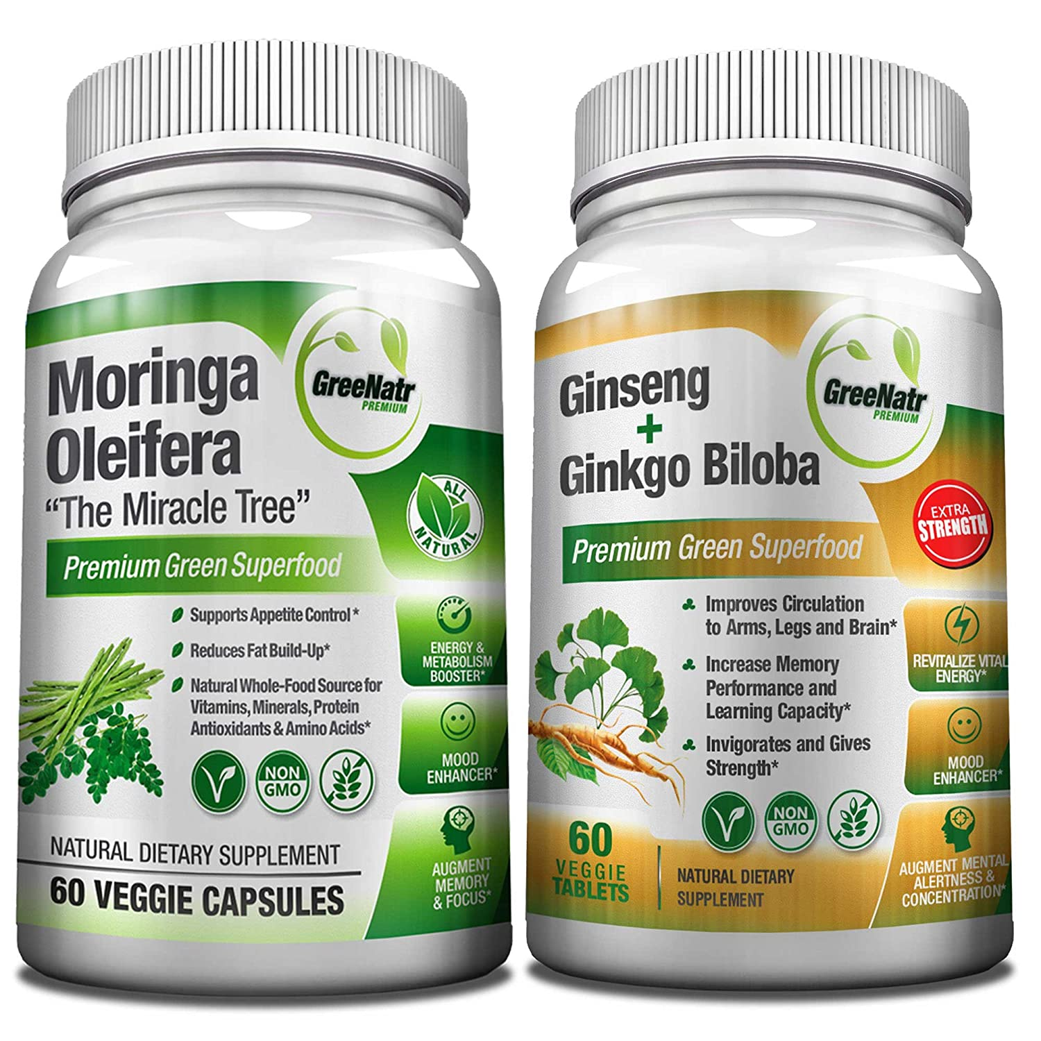 Focus Energy Bundle Panax Ginseng Ginkgo Biloba Tablets Moringa Oleifera Capsules – Premium Non-GMO Veggie Superfood – Traditional Energy Booster and Brain Sharpener – Unique Trio Supplement