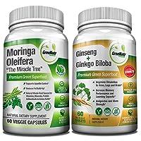 Focus + Energy Bundle | Panax Ginseng & Ginkgo Biloba Tablets + Moringa Oleifera Capsules - Premium Non-GMO/Veggie Superfood - Traditional Energy Booster and Brain Sharpener - Unique Trio Supplement