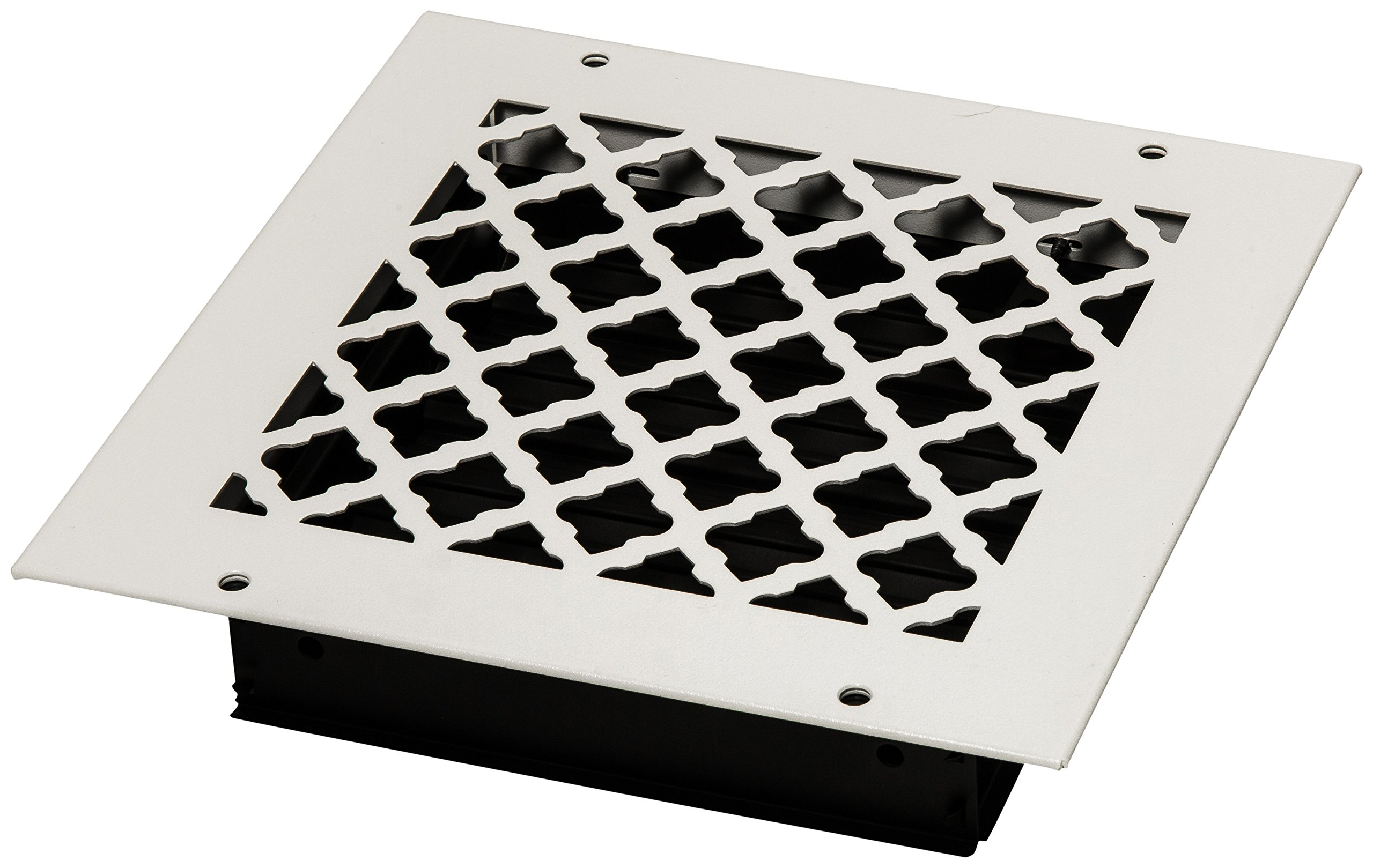 SteelCrest BTU8X8SWHH Bronze Series Designer Wall/Ceiling Vent Cover, with Air-Volume Damper, and Mounting Screws, White
