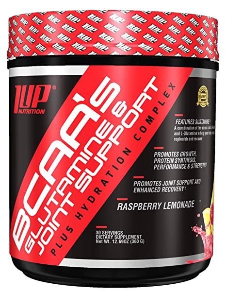 1UP Nutrition BCAA's Glutamine and Joint Support Plus Hydration Complex  Raspberry Lemonade
