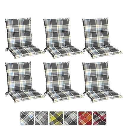 Beautissu Set de 6 Cojines para sillas de Exterior y jardín con Respaldo bajo Sunny BK Azul 100x50x6 cm tumbonas, mecedoras, Asientos cómodo ...