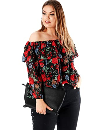 326a35a9bb2f5 Koko Plus Size Women s Floral Print Double Layer Bardot Top  Amazon ...