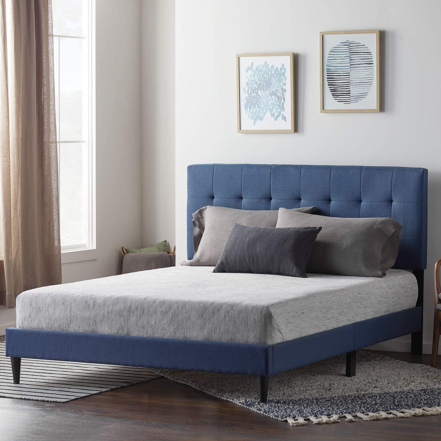 No Box Spring Required Platform Charcoal LUCID Upholstered Bed with/Square Tufted/Headboard/-Linen Inspired Fabric Twin XL Sturdy Wood Build