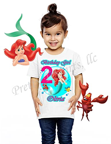 Ariel Princess Birthday Shirt ADD Any Name And Age Little Mermaid Party FAMILY Matching Shirts Girl
